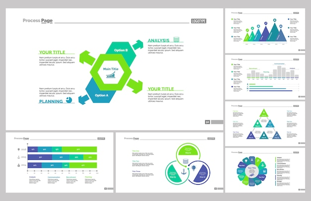 seven marketing slide templates set vector free download