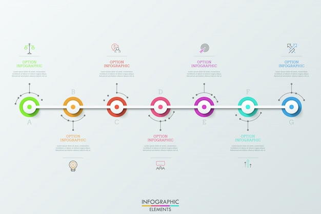 Seven multicolored round elements connected by white horizontal line, linear pictograms and text boxes. concept of seven daily achievements. Premium Vector
