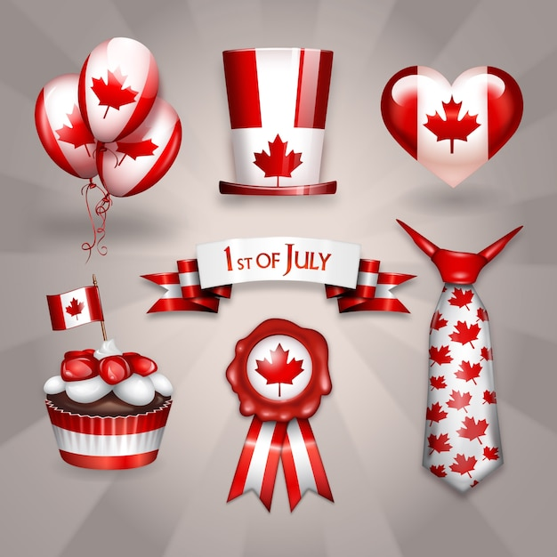 Seven party sticker overlays for canada day Premium Vector