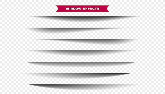 Seven realistic wide paper sheet shadows set Free Vector
