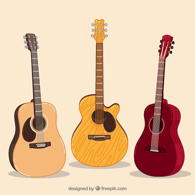 Несколько акустических гитар Premium векторы