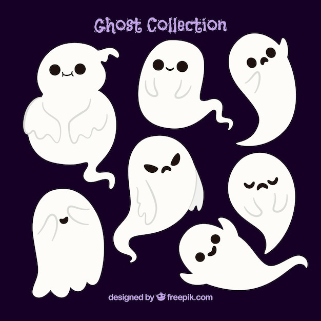 Several beautiful halloween ghosts Vector | Free Download