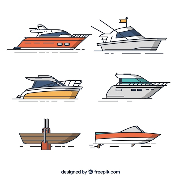Several boats in flat design