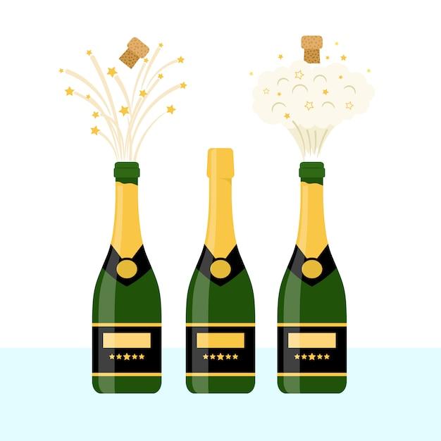Several bottles of champagne Premium Vector