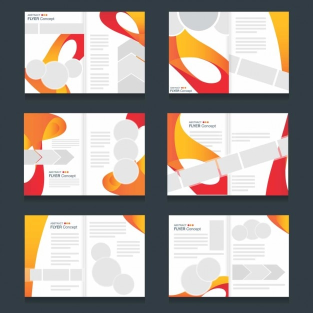 Several Brochures Templates Of Colored Waves Vector Free Download - Brochures templates