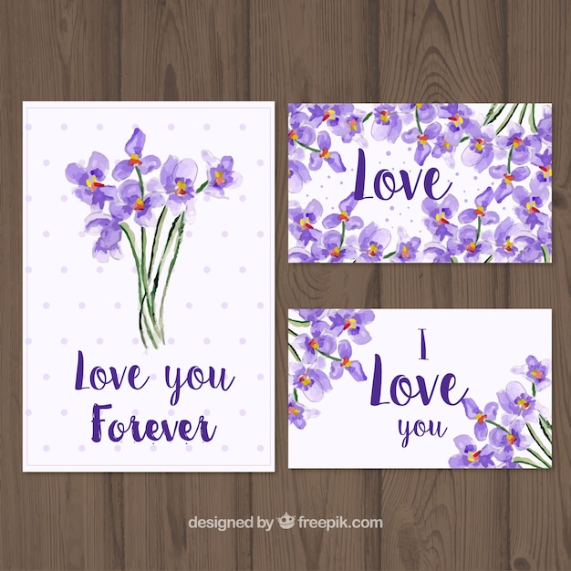 Several cards with bouquets of watercolor\ flowers