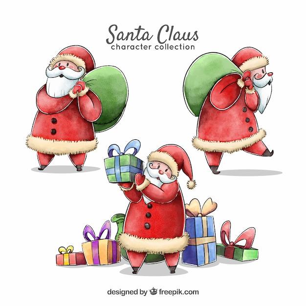 several characters of watercolor santa claus free vector - Free Santa Claus