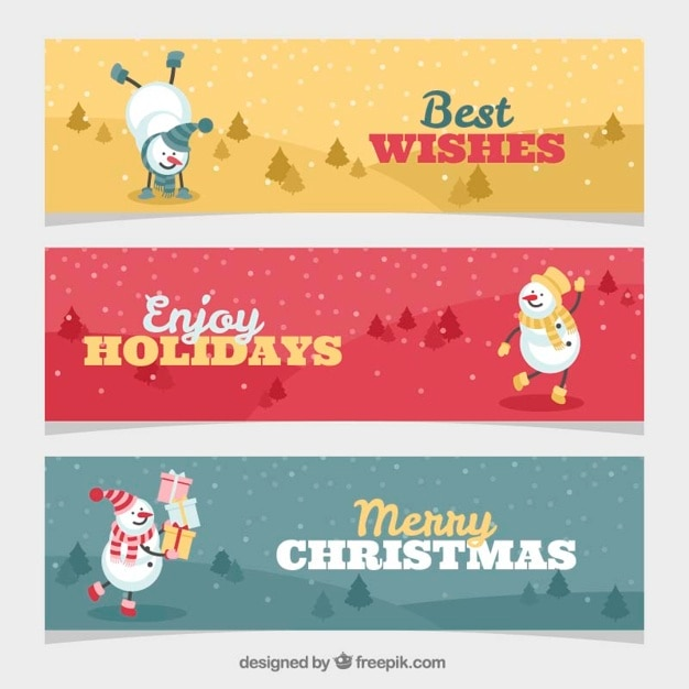 Several christmas banners with happy\ snowman