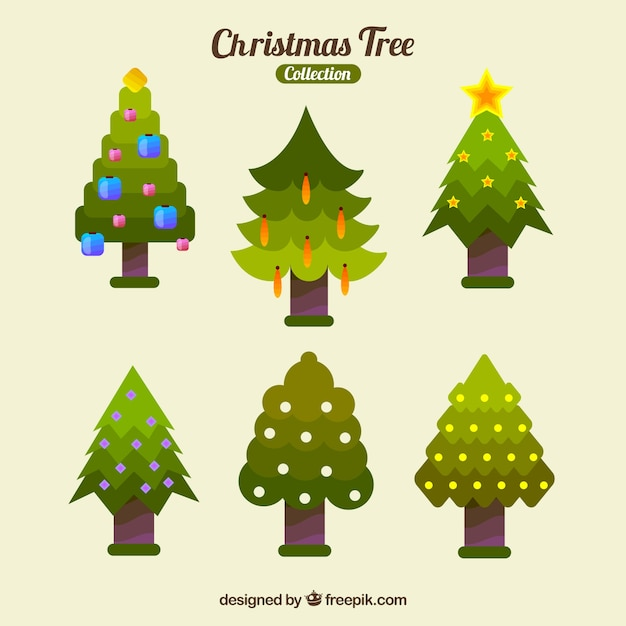 Christmas Tree Decorations Vector Free : Several christmas trees with ornaments vector free download