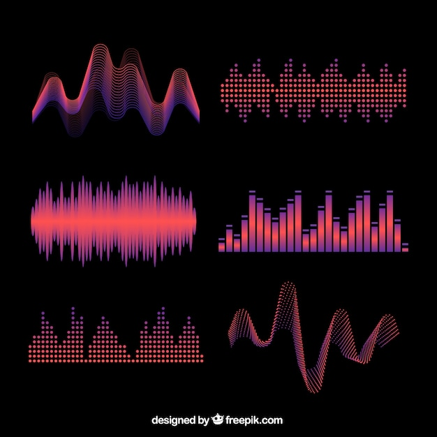 Several colored abstract sound waves Free Vector