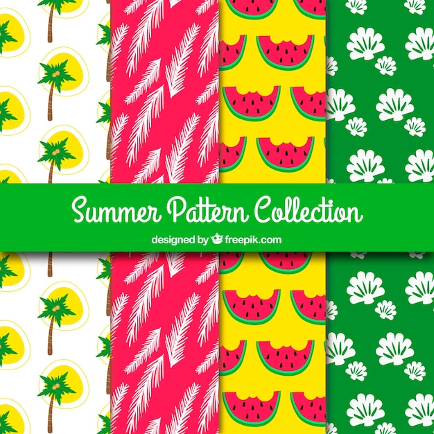 Several colored summer patterns Free Vector