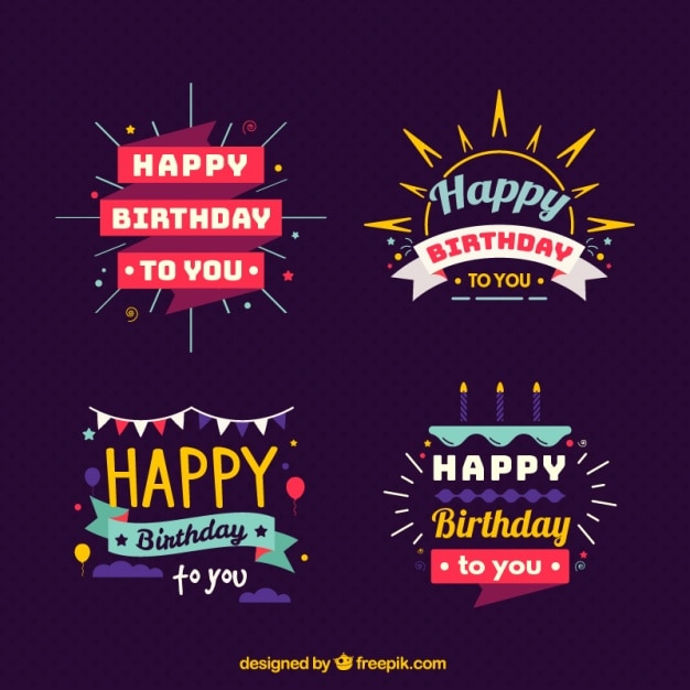 Several colorful badges for birthdays Premium Vector