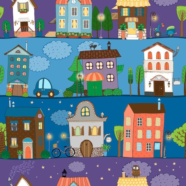 Diversi modelli di case colorati e carini in diversi momenti della giornata Vettore gratuito