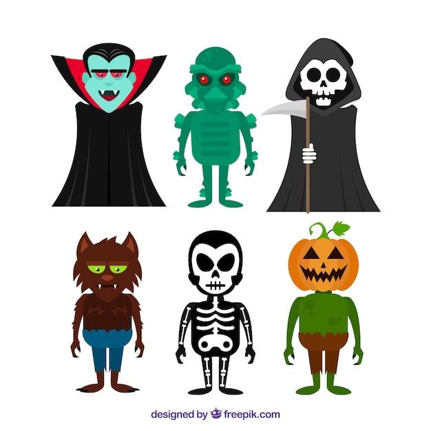 Several creepy characters Free Vector
