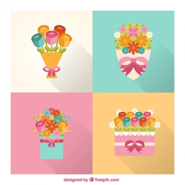 Several cute bouquets in flat design