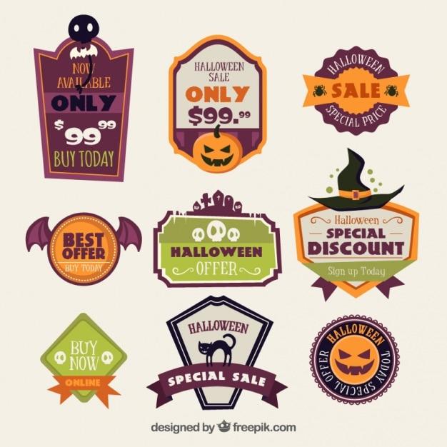 Several deals halloween stickers Free Vector