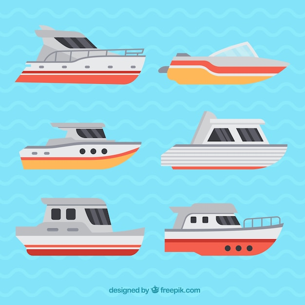 Several decorative boats in flat design
