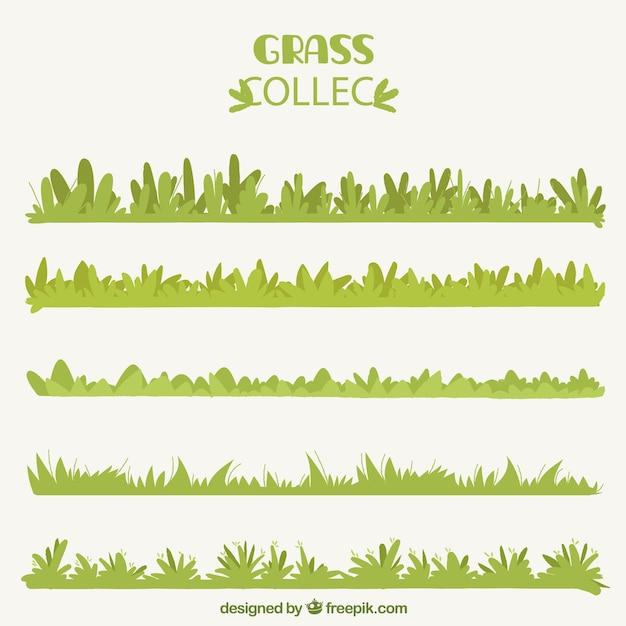 Several decorative grass borders in flat design vector for Ornamental grass border design
