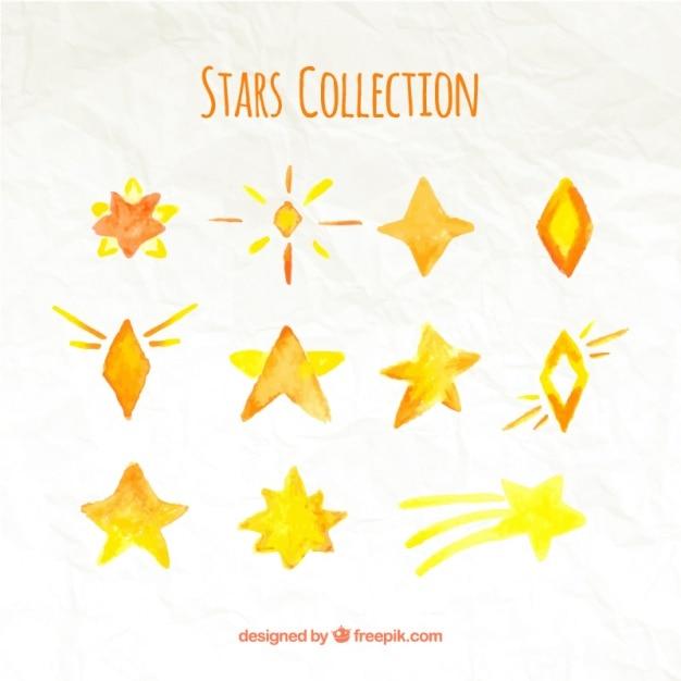 Several decorative watercolor stars Free Vector