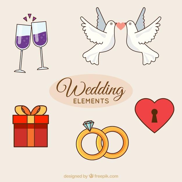 Several decorative wedding elements vector free download several decorative wedding elements free vector junglespirit Images