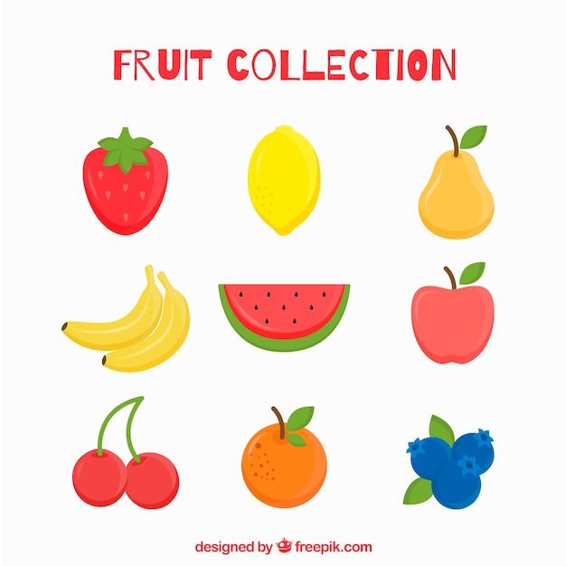 フラットデザインのいくつかのおいしいフルーツ 無料ベクター