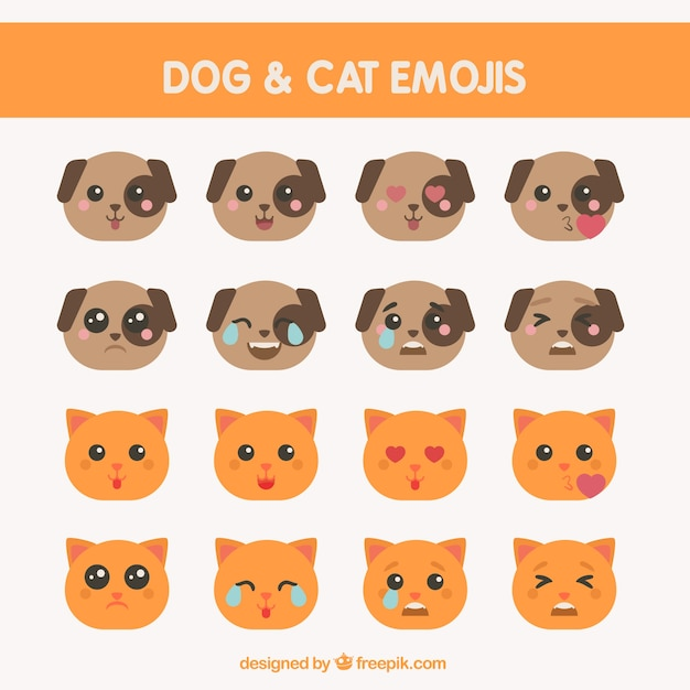 Several dog and cat emoticons in flat\ design