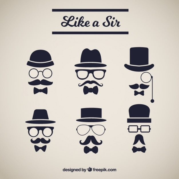 Several elements with elegant style mustache Free Vector