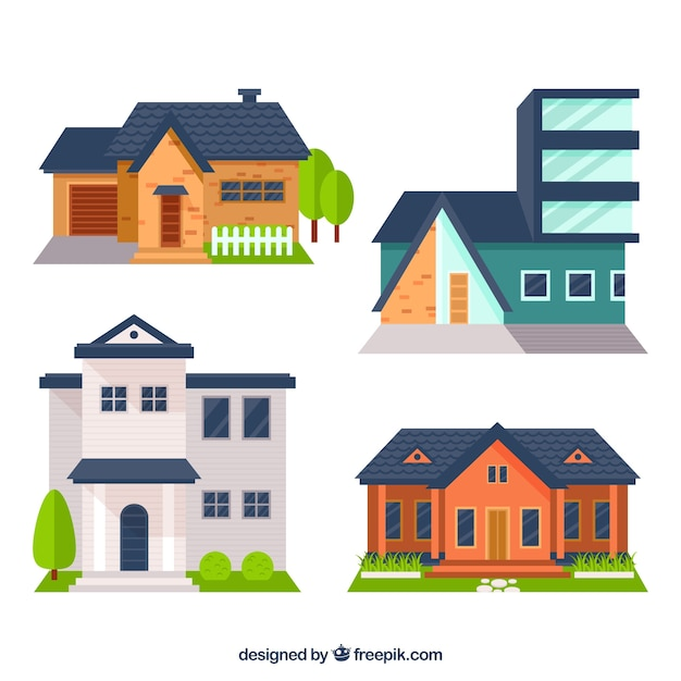 Several Facades Of Houses In Flat Design Vector Free Download