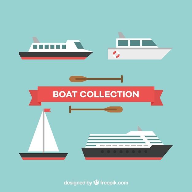 Several fantastic boats in flat design