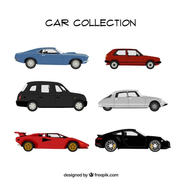 Diversi fantastiche auto in design piatto Vettore gratuito