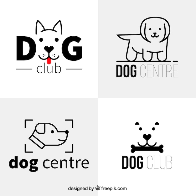 Several flat dog logos in minimalist style Free Vector