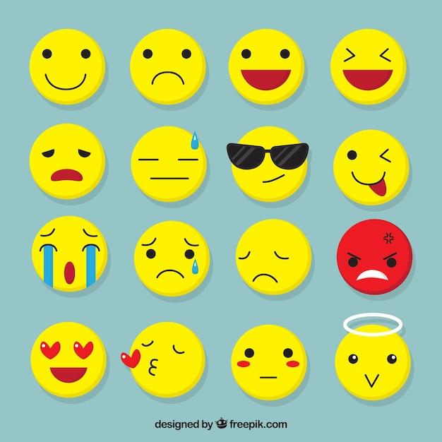 Several flat emojis with fantastic facial expressions Free Vector