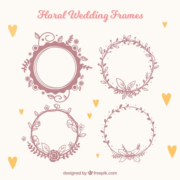 Several floral wedding frames Vector | Free Download