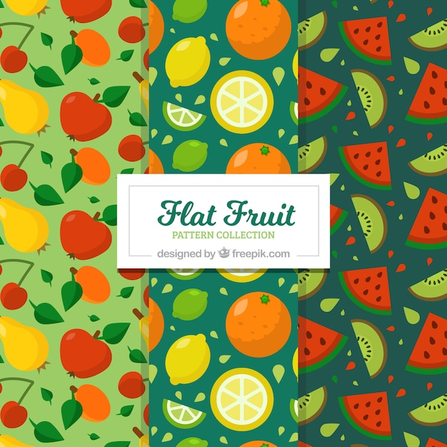 Several fruit patterns in flat design Free Vector