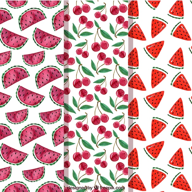 Several fruit patterns in watercolor style Premium Vector