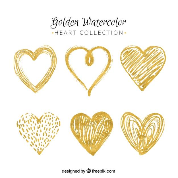 Несколько золотые сердца окрашены акварель Бесплатные векторы