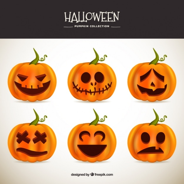 Several great pumpkins to celebrate halloween Free Vector