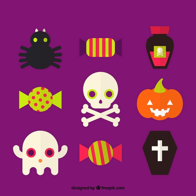 Several halloween items in flat style Free Vector