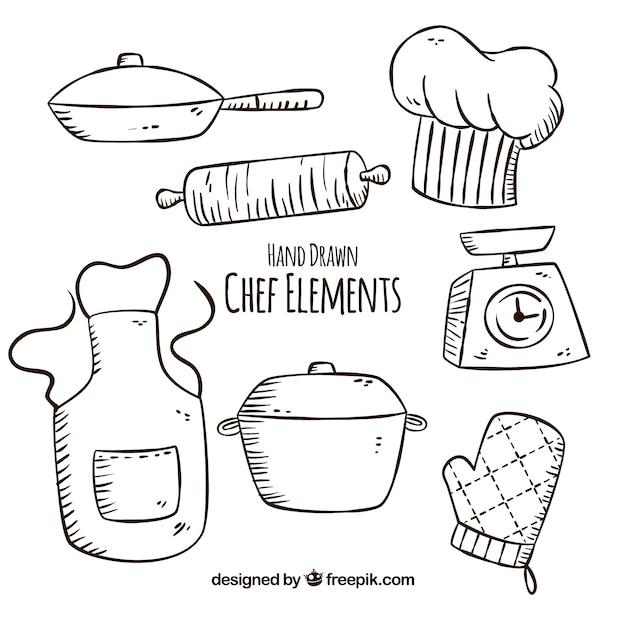 손으로 그린 여러 요리사 항목 무료 벡터