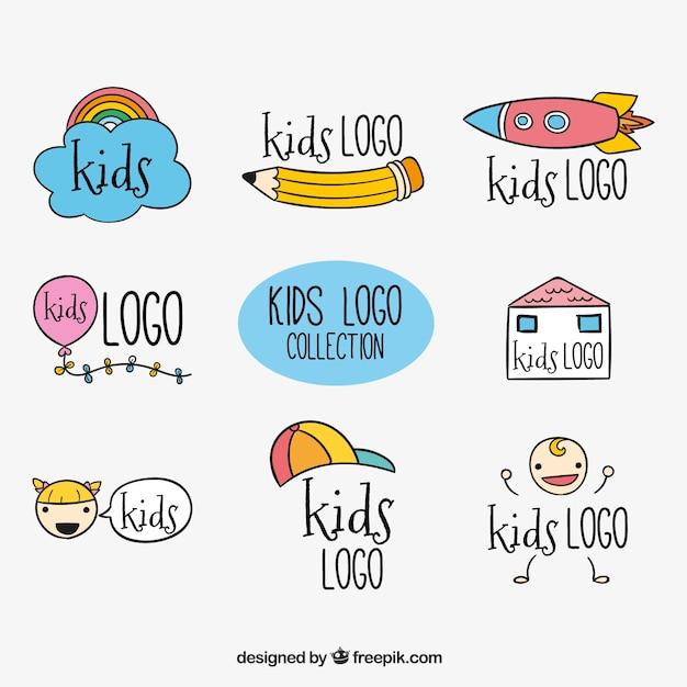 several handdrawn kids logos vector free download