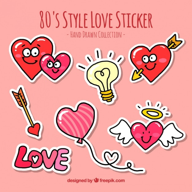 several hand drawn love stickers vector free download