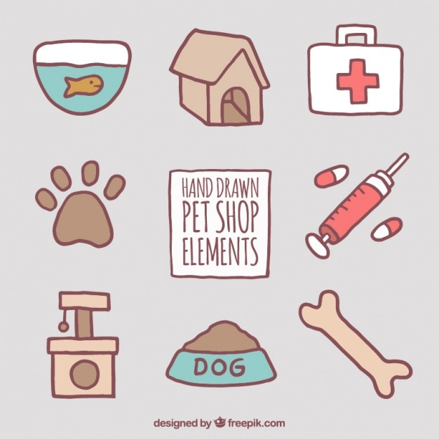 Several hand-drawn pet accessories Free Vector