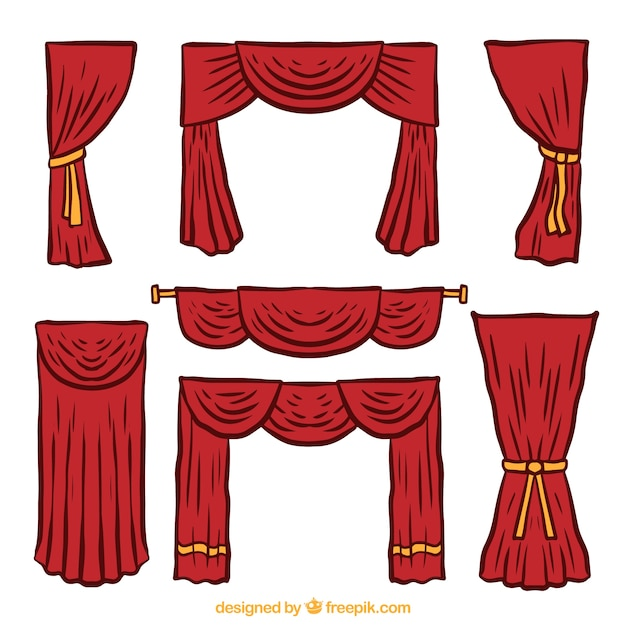 Several Hand Drawn Theater Curtains Free Vector