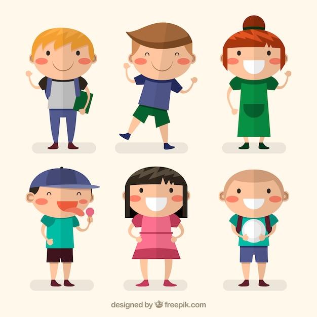 Several happy children in flat design Free Vector