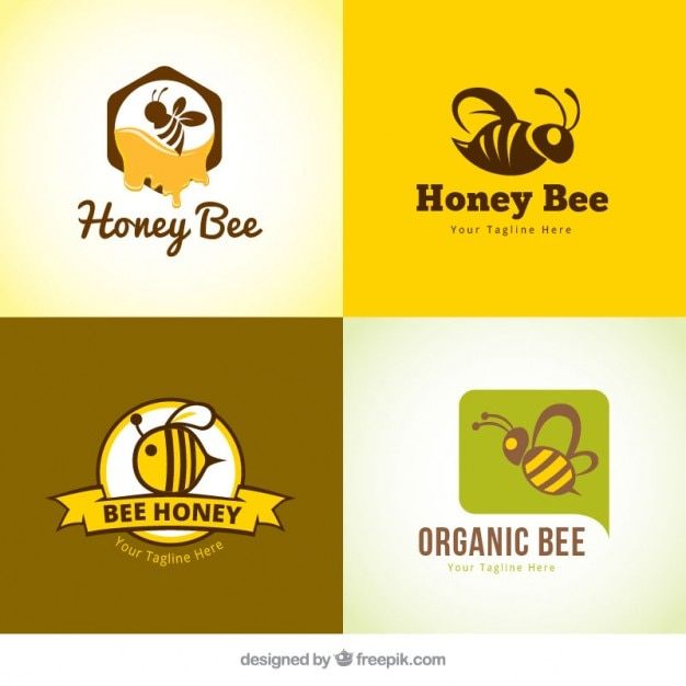 Several honey logotypes Free Vector