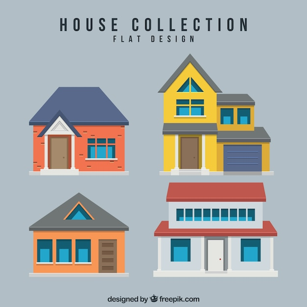 Flat Houses: Several Houses In Flat Design Vector