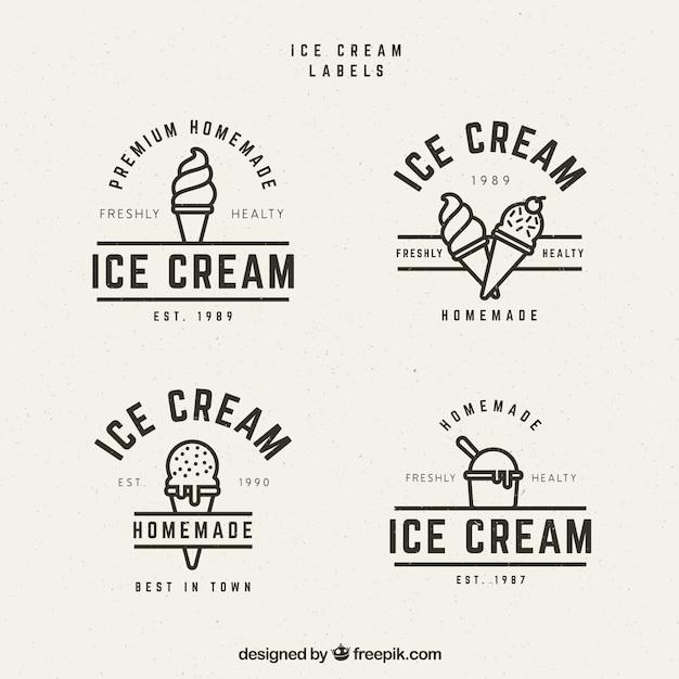 빈티지 스타일의 여러 아이스크림 레이블 무료 벡터