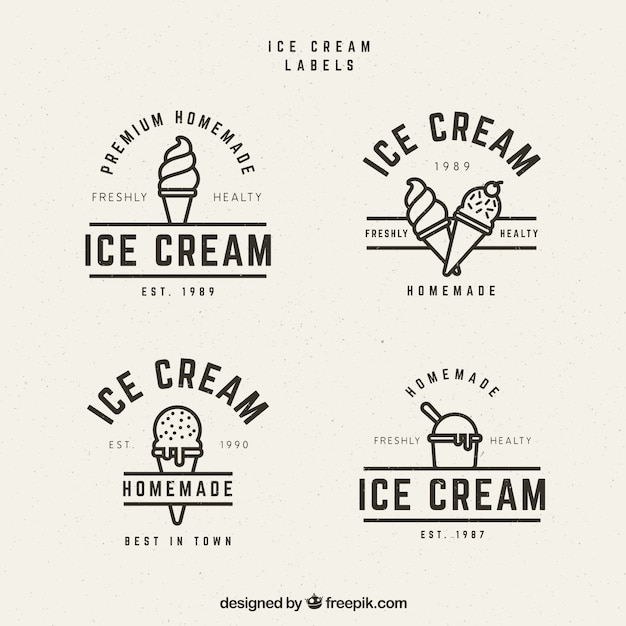 Several ice cream labels in vintage style Free Vector