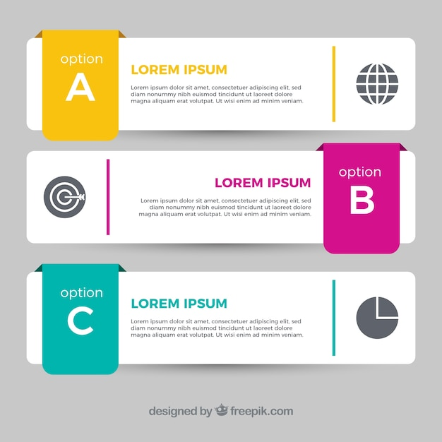 Several infographic banners with color details in flat design Free Vector