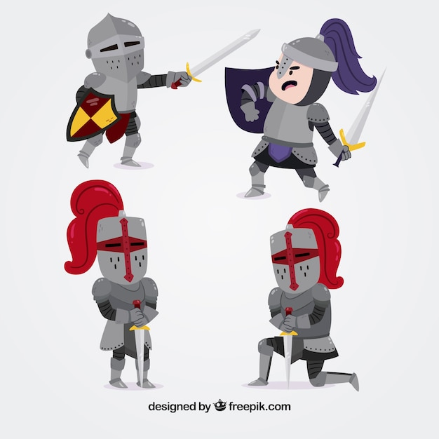 Several knights armor fighting